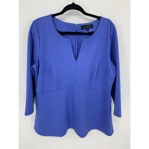 eloquii 18 blue peplum blouse top